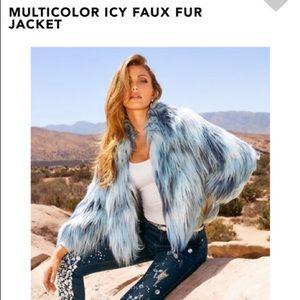 Gorgeous Icy Blue Faux Fur Jacket